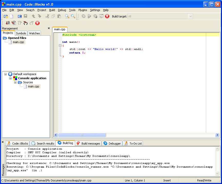 code blocks 10.05 pour windows 7